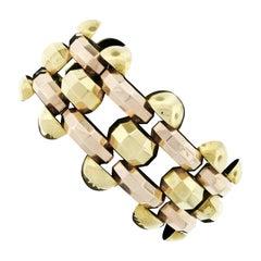 Retro Vintage 1940's 14k Green & Rose Gold Open Faceted Link Bracelet