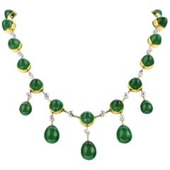 Retro, Vintage 1950s Green Chrysophrase & Old Diamond Briolette Drop Necklace