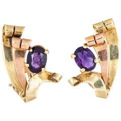 Retro Vintage Amethyst Earrings 14k Yellow Rose Gold Clip-On Estate Fine Jewelry