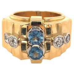 Retro Vintage Aquamarine Diamonds 18K Yellow Gold Buckle Ring