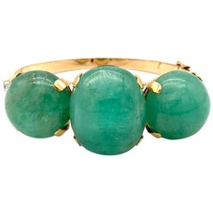 Retro Vintage Bangle Bracelet Emerald Cabochon Diamond Gold Fürst Turin Rome