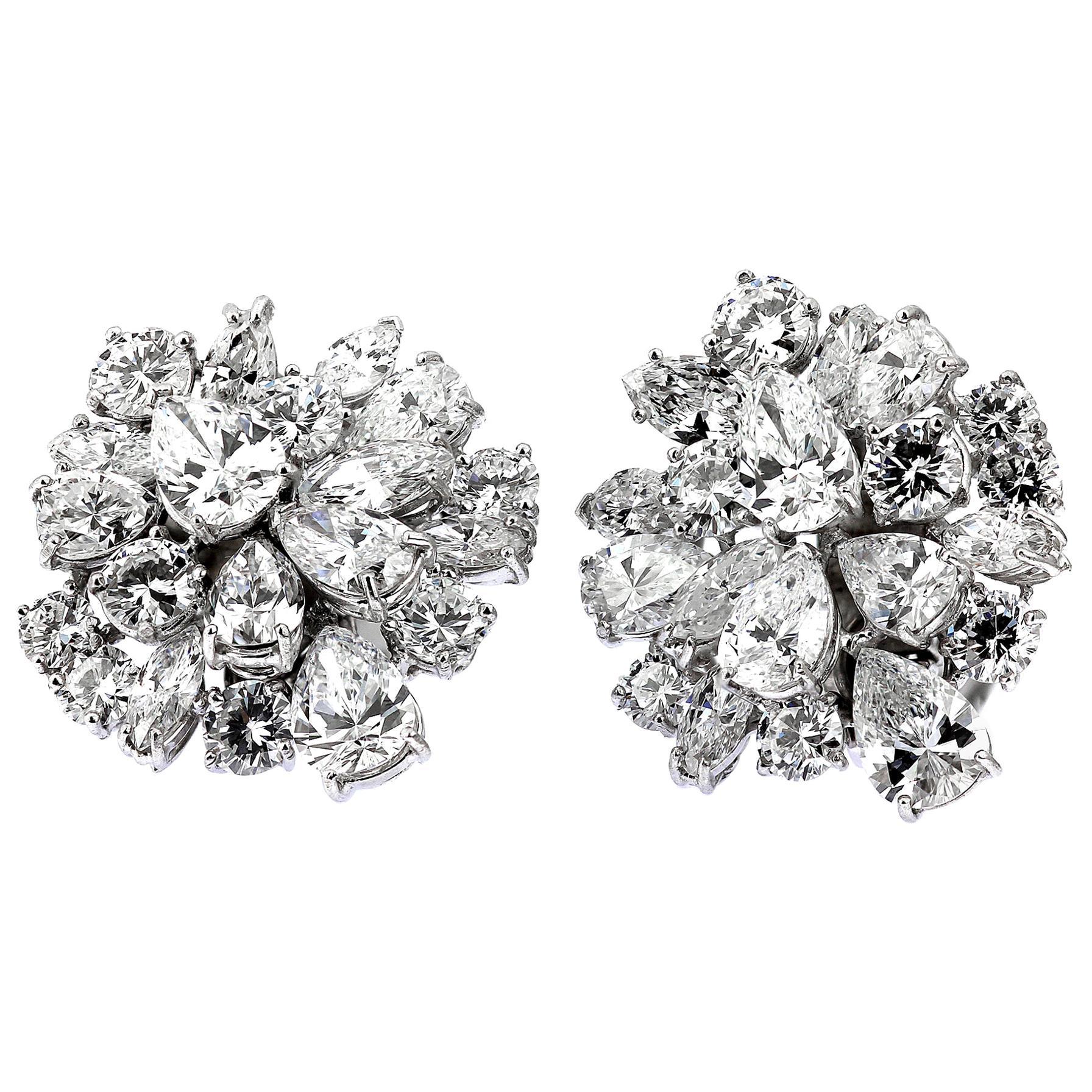 Retro/Vintage Certified Diamonds D-F Clip-On Statement Earrings/Pendant/Brooch