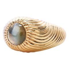 Retro Vintage Chrysoberyl Cats Eye 18k Gold Textured Men's Ring