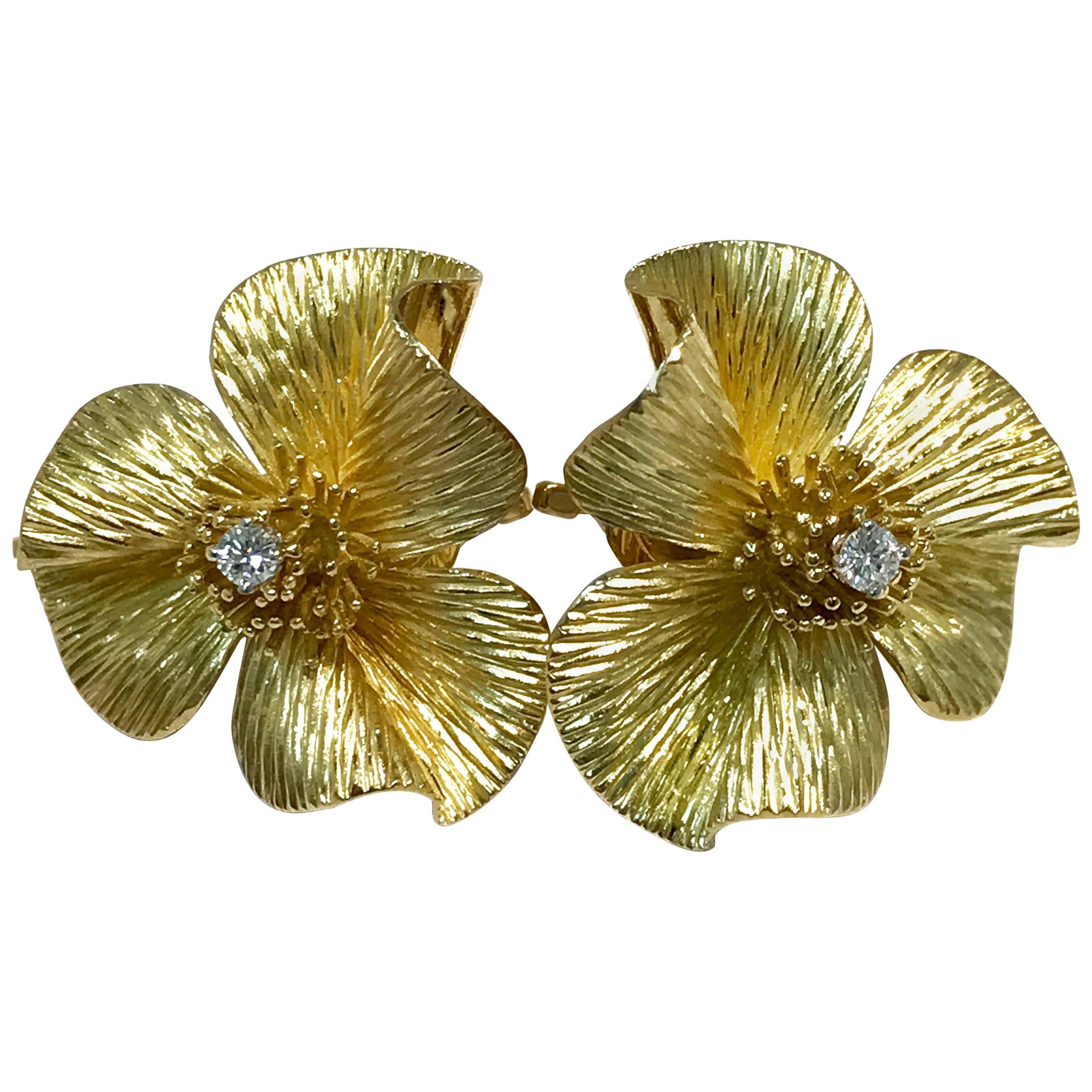 Retro/Vintage Gold Flower Diamond Earrings, circa 1950s
