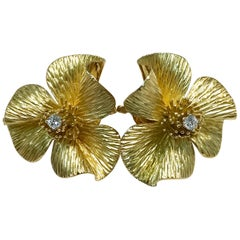 Retro/Vintage Gold Flower Diamond Earrings, circa 1950s