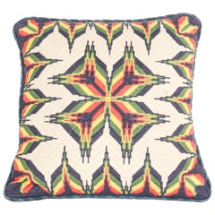 Retro Vintage Handmade Needlepoint Wool Throw Pillow, Sweden