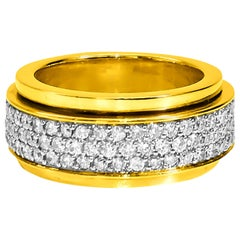 Retro VVS 4.50 Carat Diamond and Gold Band Ring