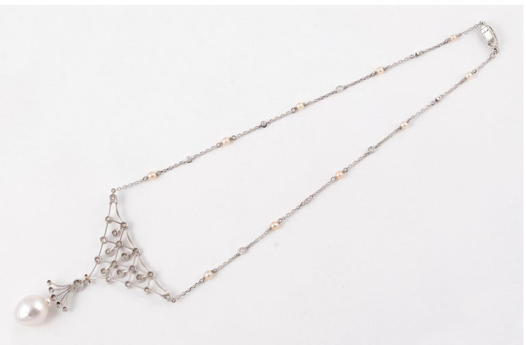 Old European Cut Retro White Gold Old Cut Diamond and South Sea Pearl Necklace For Sale