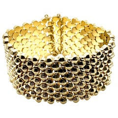 Retro Wide 18 Karat Yellow Gold Bracelet