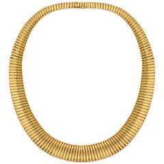 Retro Wide Graduating Gooseneck Gold Chain Necklace