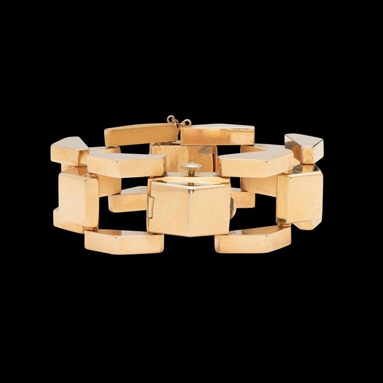 Women's Retro Wide Link Gold Bracelet Wristwatch For Sale