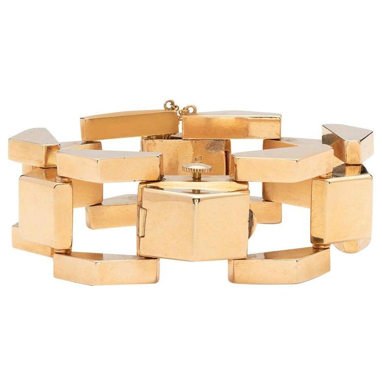 Retro Wide Link Gold Bracelet Wristwatch For Sale