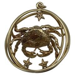 Retro William Ruser Rose Gold Astrological Zodiac Sign Cancer Crab Pendant