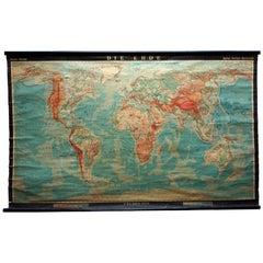 Retro World Map Earth Poster Wall Chart Print