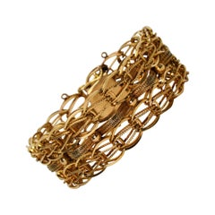 Retro Woven 14 Karat Yellow Gold Link Chain Bracelet