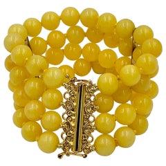 Retro Yellow Chalcedony Bracelet 4-Strand Beads
