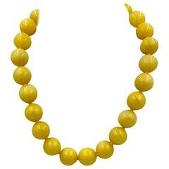 Retro Yellow Chalcedony Necklace Beads