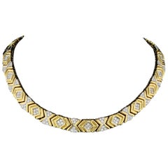 Retro Yellow Gold and Diamond Collar Necklace
