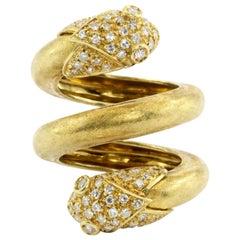 Retro Yellow Gold and Diamond Double Headed Snake Ring, circa 1970s