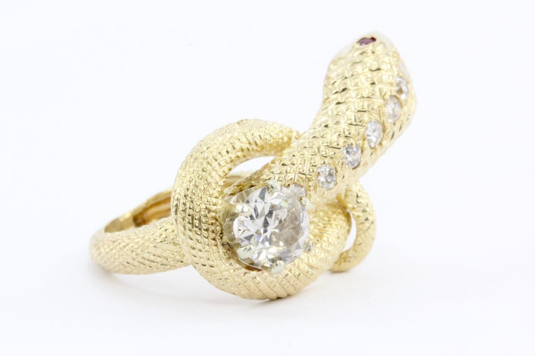 Old European Cut Retro Yellow Gold Champagne Diamond and Ruby Coiled Snake Ring, circa 1950s For Sale