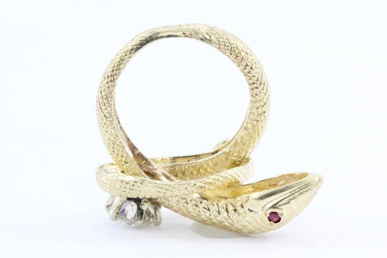 Women's Retro Yellow Gold Champagne Diamond and Ruby Coiled Snake Ring, circa 1950s For Sale