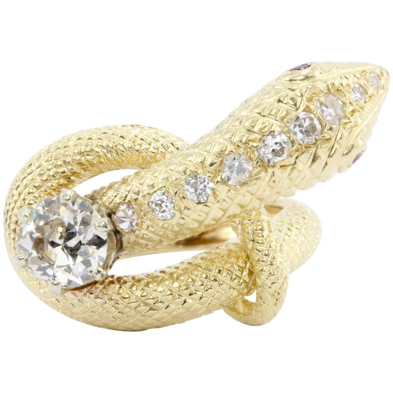Retro Yellow Gold Champagne Diamond and Ruby Coiled Snake Ring, circa 1950s For Sale