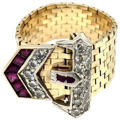 Retro Yellow Gold Diamond Ruby Enamel Buckle Ring