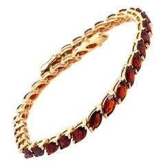 Retro Yellow Gold Estate Bracelet 35 Natural Red Marquise Garnet Gem Stone