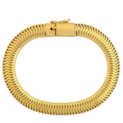 Retro Yellow Gold Flexible Snake Chain Bracelet