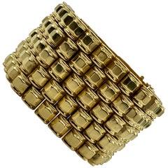 Retro Yellow Gold Geometric Linked Bracelet