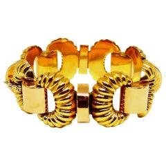 Retro Yellow Gold Rose Gold Link Bracelet