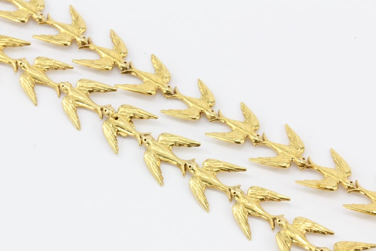 Retro Yellow Gold Swallow Chain Necklace, circa 1950s For Sale 6