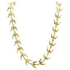 Retro Yellow Gold Swallow Chain Necklace, circa 1950s