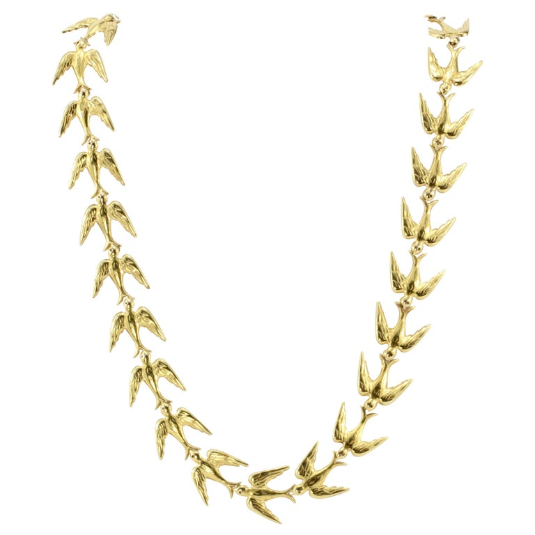 Retro Yellow Gold Swallow Chain Necklace, circa 1950s For Sale