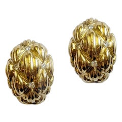 Retro Yellow Gold-Topped Sterling Silver Earrings with Diamonds