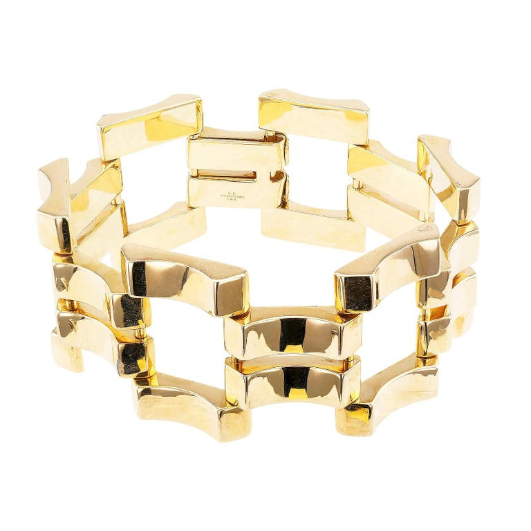 Women's Retro Yellow Gold Wide Link Bracelet For Sale