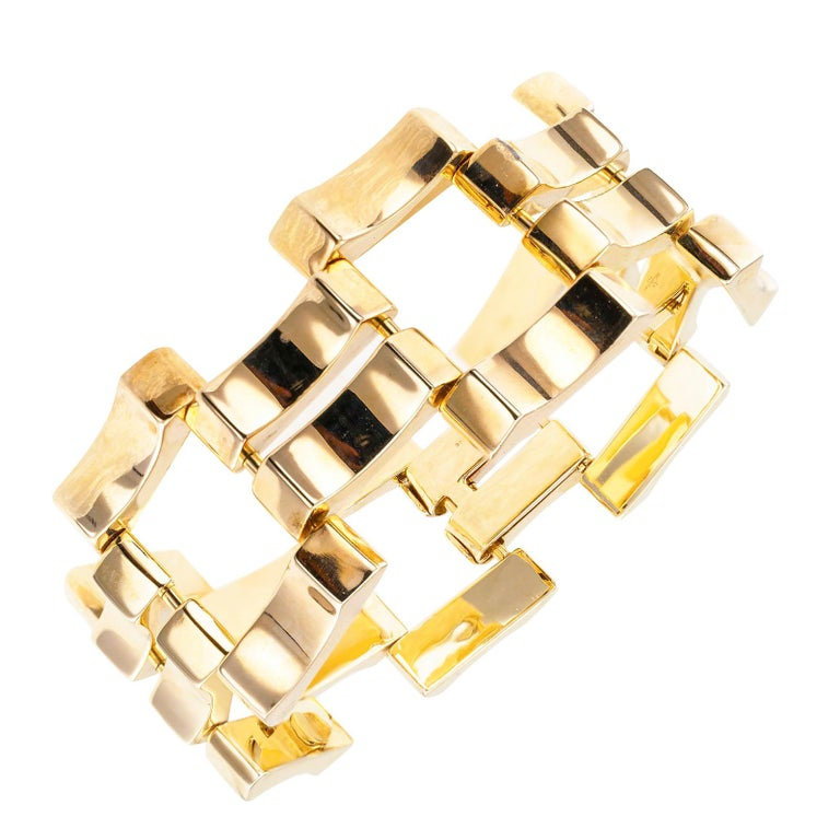 Retro Yellow Gold Wide Link Bracelet For Sale 1
