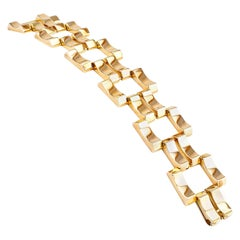 Retro Yellow Gold Wide Link Bracelet