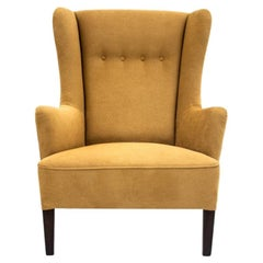 Retro Yellow Wingback Armchair, 1950s