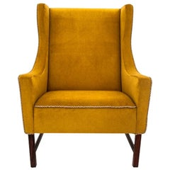Retro Yellow Wing Chair, Polish Design, 1950s