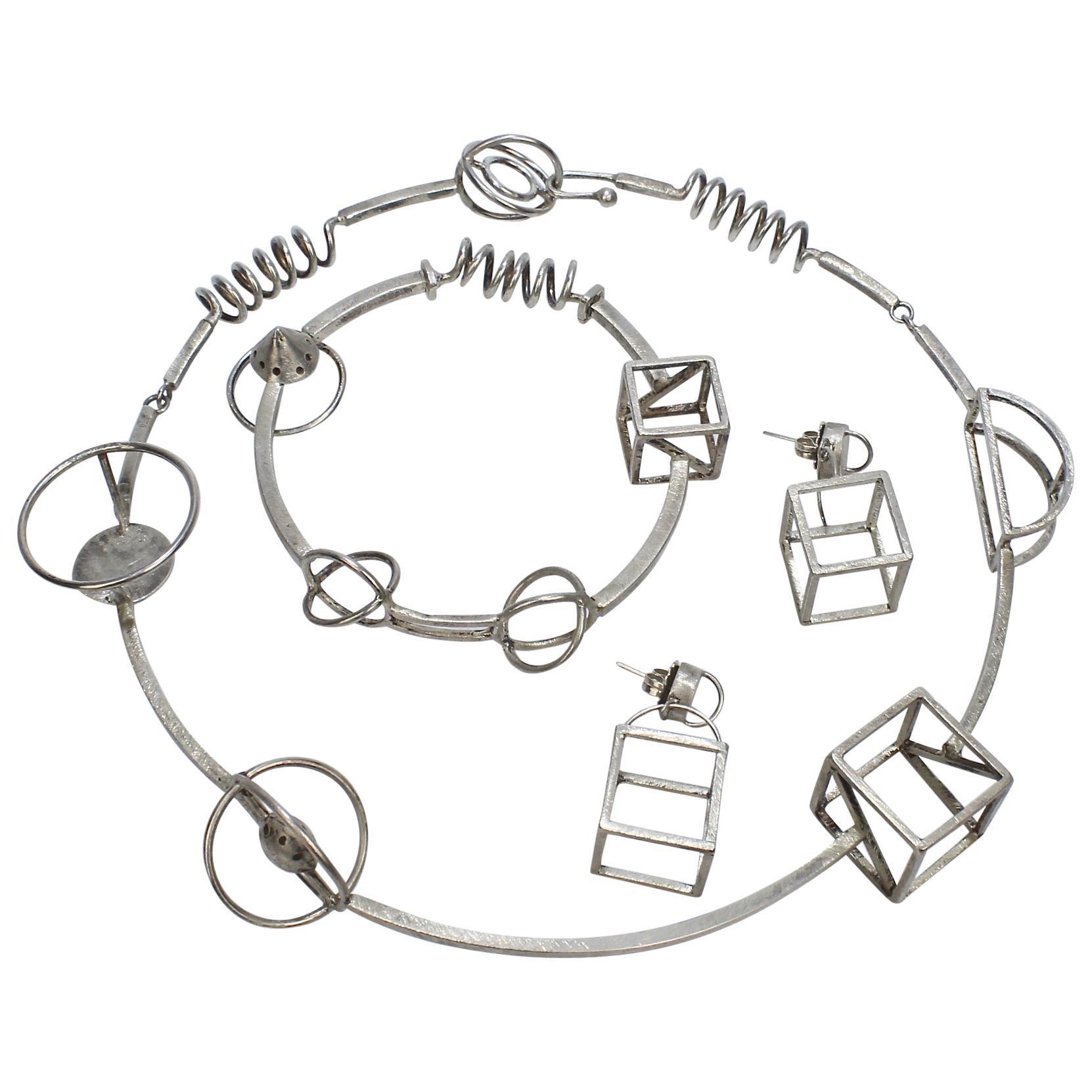 Retro Yumi Ueno Sterling Silver Geometric Necklace, Earring, & Bracelet Parure