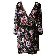 Retrofête Floral Sequin Wrap Mini Dress