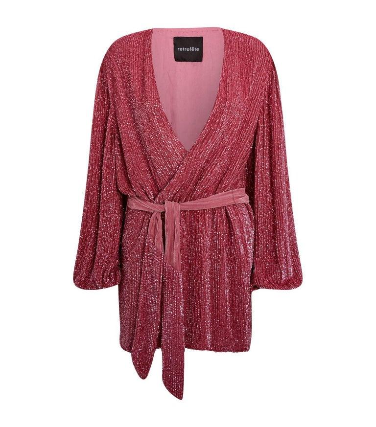 d8355154 Retrofête Gabrielle Sequin-Chiffon Wrap Mini Dress For Sale at 1stdibs