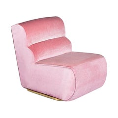 Retrofuturism 70s Style Pink Velvet & Polished Brass Base Accent Chair Manhattan