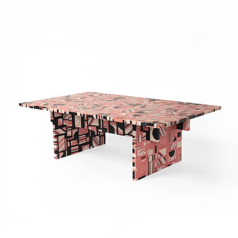 We are proud to introduce the Retrograde coffee table as the first piece of furniture made entirely from our new MetaMATERIAL, a raw composite resin we developed to engage with pattern and move our work beyond the confines of a mold.   The concept