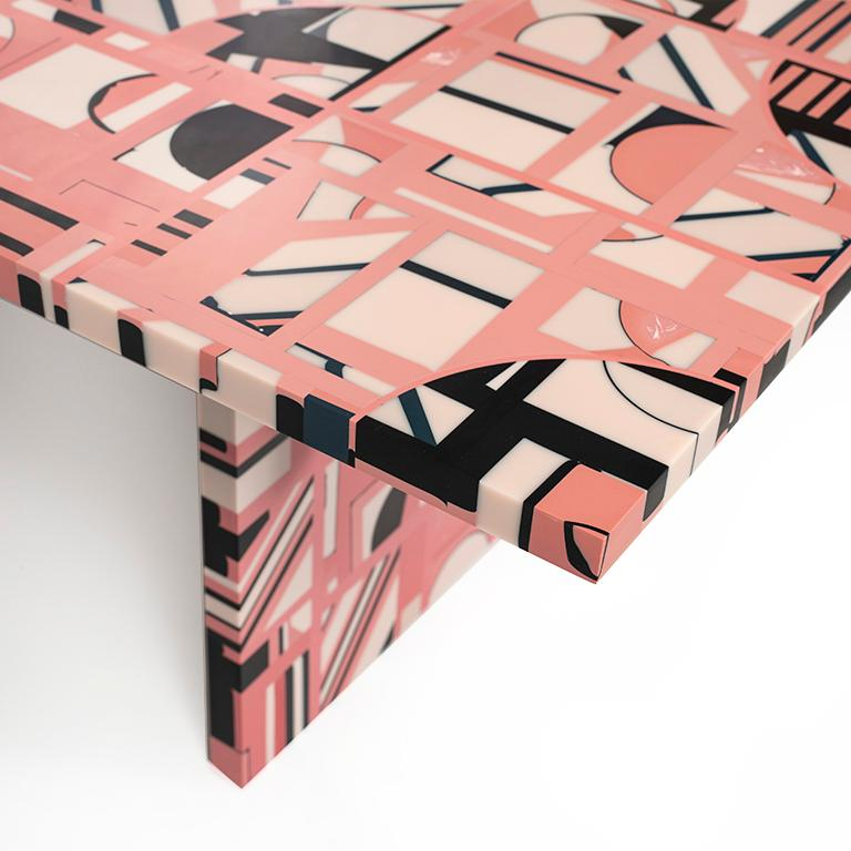 Contemporary Retrograde Coffee Table in Resin by Elyse Graham For Sale
