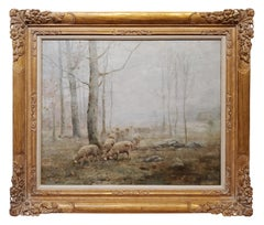 Landscape Oil Painting of an Early Morning with Grazing Sheep