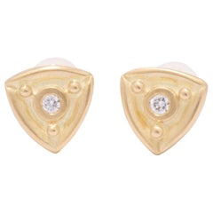 Reuleaux Triangle Stud Earrings in 18 Karat Gold with Diamonds
