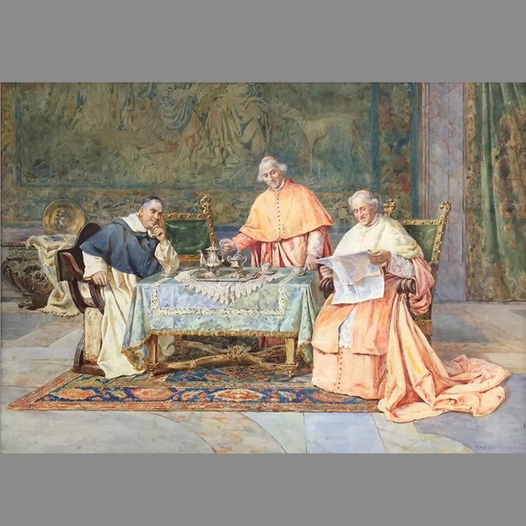 'Reunion des Cardinaux' - A watercolor painting by Pietro Pavesi. (1844-1907).