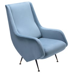 Blue reupholstered Mid-Century Italian armchair in the style of Aldo Morbelli